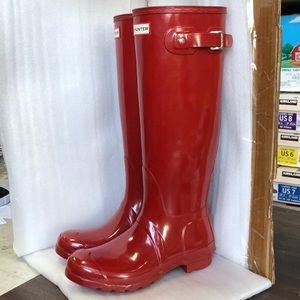 NEW Hunter Tall Original Gloss Red Size 8